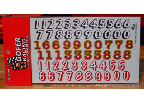 Gofer Decals #11005 Race Car Numbers