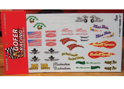 Gofer Decals #11037 Name It Sheet