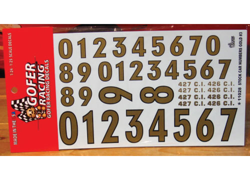 Gofer Decals #11028 Stock Car Numbers Gold