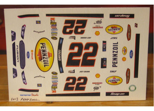 #22 Pennzoil Joey Logano 2013 Ford Fusion MPR