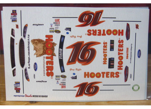 #16 Hooters Greg Biffle Darlington Fusion MPR