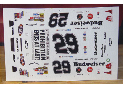 #29 Budweiser Prohibition Ends Kevin Harvick 2012 Impala MPR