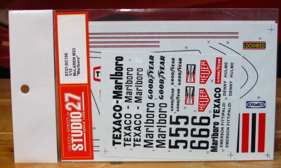 Studio 27 McLaren M23 Marlboro Decals 1/12 Scale