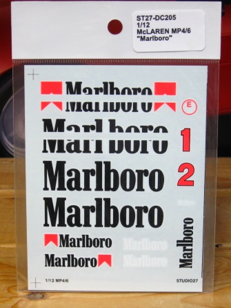Studio 27 McLaren MP 4/6 Marlboro Decals 1/12 Scale