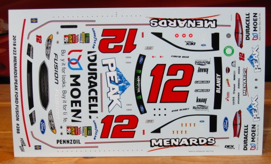 #12 Menards Ryan Blaney 2018 Fusion Powerslide #288