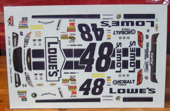#48 Lowe\'s White Car Jimmie Johnson 2013 Chevy SS Stoney\'s
