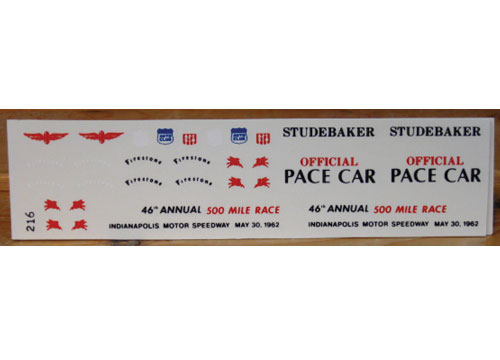 Fred Cady #216 1962 Studebaker  Indy Pace Car