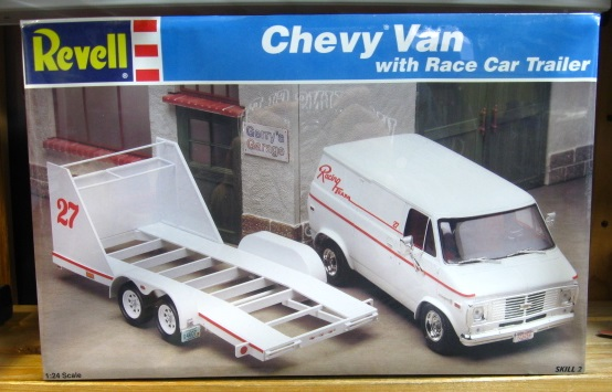 Revell Chevy Van with Race Car Trailer Kit Sealed