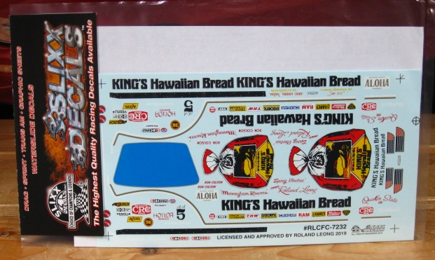 Slixx #7232 King's Hawaiian Bread Corvette Funny Car Roland Leong