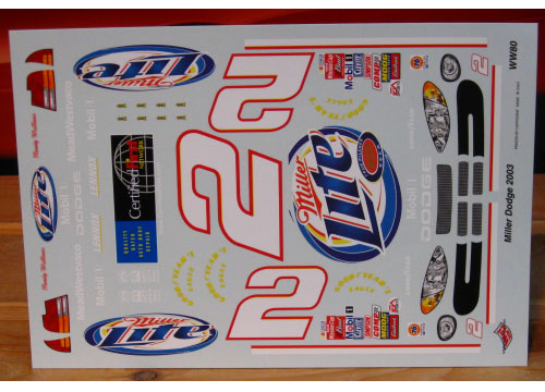 # 2 Miller Lite Rusty Wallace 2003 Wetworks