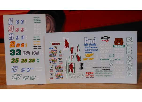 1/64 Scale Nascar Decals Group #1