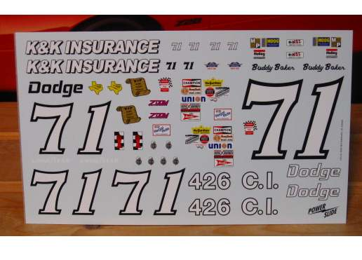 #71 K&K Insurance Charger Buddy Baker 1/16 Scale Powerslide