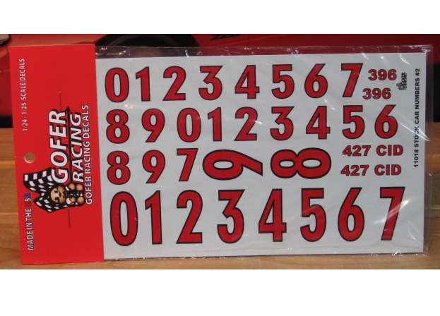 Gofer Decals #11018 Stock Car Numbers 2
