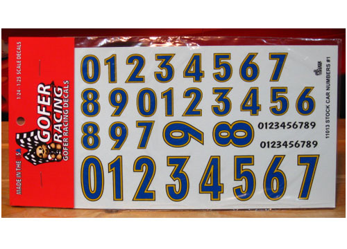 Gofer Decals #11013 Stock Car Numbers