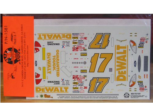 #17 DeWalt Reverse Colors Matt Kenseth 2000 Slixx