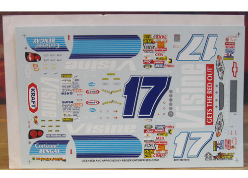 #17 Visine Blue Matt Kenseth 2001 Slixx