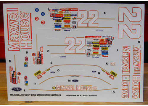 #22 Maxwell House Sterling Marlin 1991 Monogram
