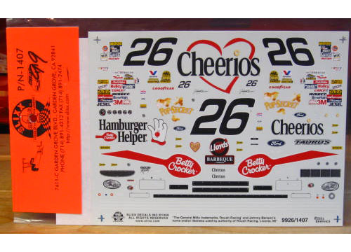 #26 Cheerios Johnny Benson 1999 Slixx