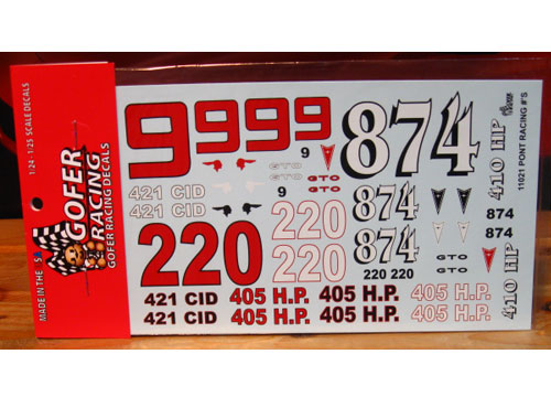 Gofer Decals #11021 Pontiac Racing Numbers