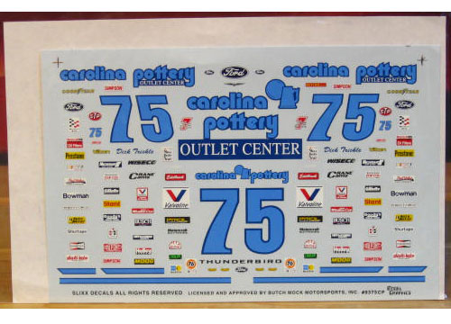 #75 Carolina Pottery Dick Trickle 1993 Slixx