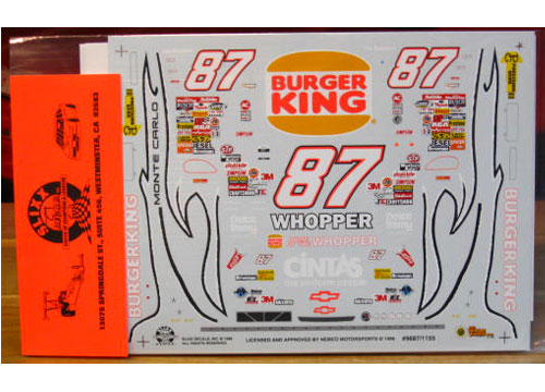 #87 Burger King Joe Nemechek 1996 Slixx